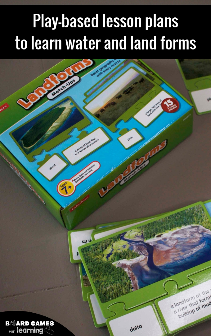 How to teach elementary and middle school geographic landforms. Fun and play-based educational games and lesson plans.