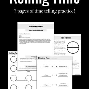 Rolling time homeade dice game to help kids learn to recognize and say the time in different ways.
