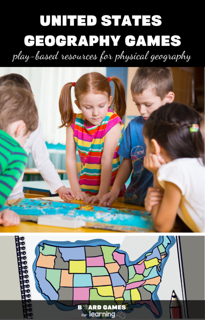 Games for kids to learn states and capitals. 12+ great resources for United States physical Geography to help kids understand American boarders and state outlines. #BoardGamesForLearning #gamelist #tpt