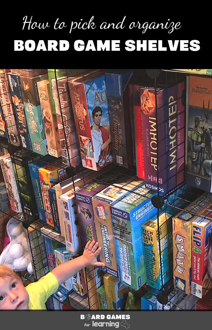 Board game storage shelving solutions